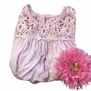philosophy crochet long sleeve top blouse chalk pi